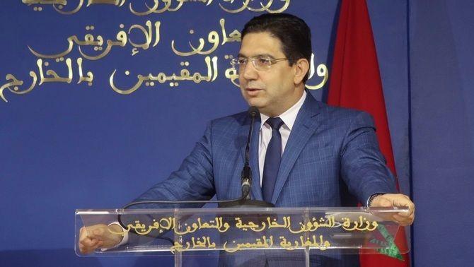El ministre d'Exteriors marroquí, Naser Burita, en roda de premsa