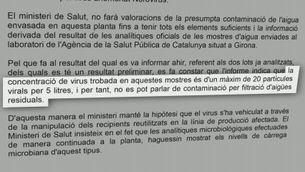 Andorra contradiu Salut en el resultat de les anàlisis d'aigua mineral