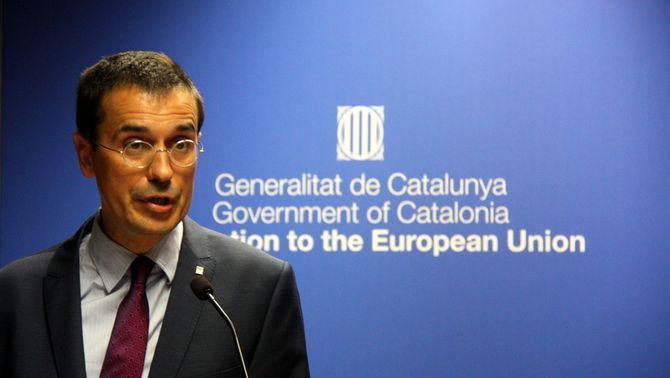 El representant permanent davant de la UE, Amadeu Altafaj, durant el discurs de l'acte de la Diada a Brussel·les, el 12 de setembre del 2016 (h…