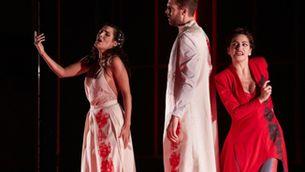 """Els tres protagonistes de l'òpera """"Diàlegs de Tirant e Carmesina"""""""