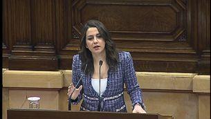 Inés Arrimadas, durant la seva intervenció al debat d'investidura