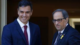 Els presidents del govern espanyol, Pedro Sánchez, i de la Generalitat, Quim Torra, durant la visita a La Moncloa del 9 de juliol (ACN)