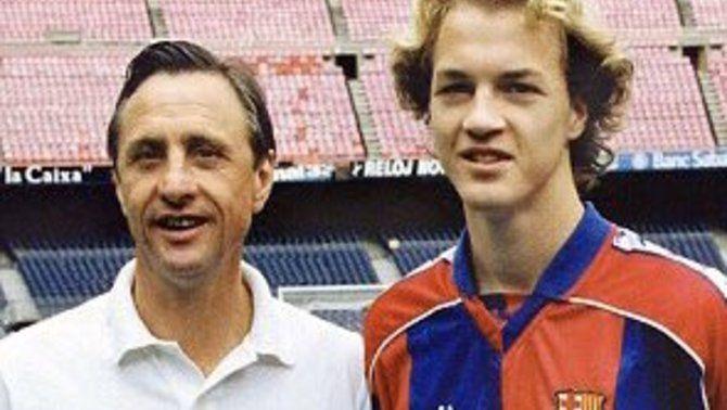 Jordi Cruyff, al costat del seu pare Johan, en una imatge d'arxiu