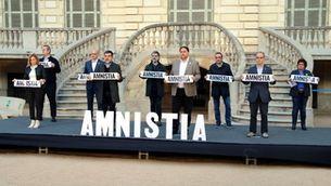 Els nou líders sobiranistes empresonats, en un acte al Palau Robert l'1 de febrer passat (ACN / Àlex Recolons)