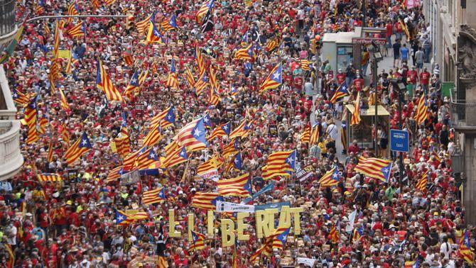 Moltes estelades a la manifestació de la Diada