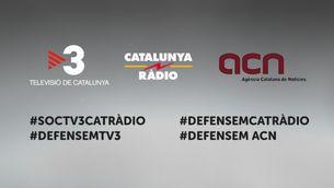 Mostres públiques de suport a TV3 i Catalunya Ràdio davant l'amenaça d'intervenció dels mitjans públics catalans