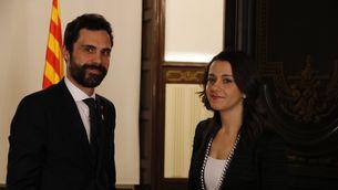 El president del Parlament, Roger Torrent, rep la líder de Ciutadans, Inés Arrimadas (ANC)