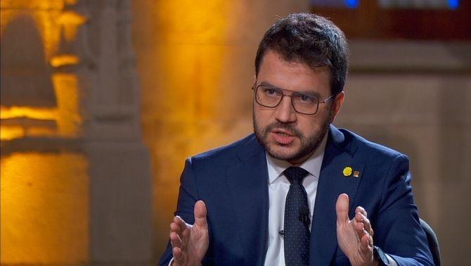 Pere Aragonès, durant l'entrevista d'aquest dimecres a TV3
