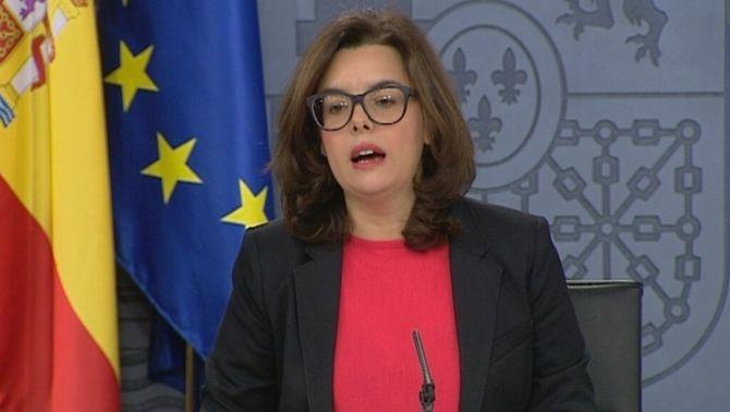 Soraya Sáenz de Santamaría en la roda de premsa del Consell de Ministres
