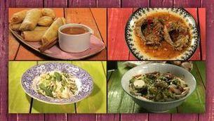 Rotllets de primavera, peix, wok i ramen