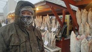 Parades de peix als carrers de Iakutsk (Foto: Manel Alias)