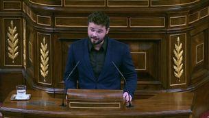 El diputat republicà Gabriel Rufián ha defensat des de la tribuna del Congrés el vot als 16 anys