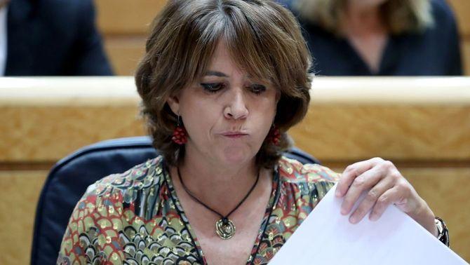 La ministra de Justícia, Dolores Delgado, a la sessió de control al Senat, el 10 d'octubre (Efe)