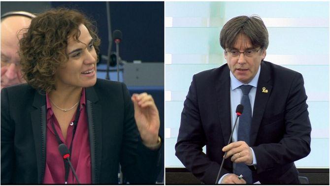 """Puigdemont i Montserrat s'enganxen a Estrasburg: """"pròfug"""" vs. """"presumpció d'innocència"""""""