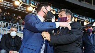 Detalls del primer dinar de Leo Messi i Joan Laporta