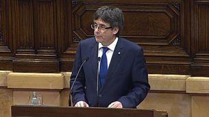 """Carles Puigdemont: """"Em sotmetré a una qüestió de confiança"""". Compareixença íntegra"""