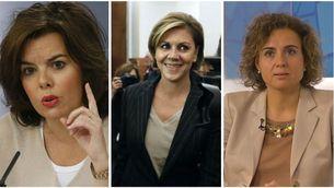 Soraya Sáenz de Santamaría, María Dolores de Cospedal i Dolors Montserrat, tres de les cinc dones del nou govern de Rajoy (EFE)