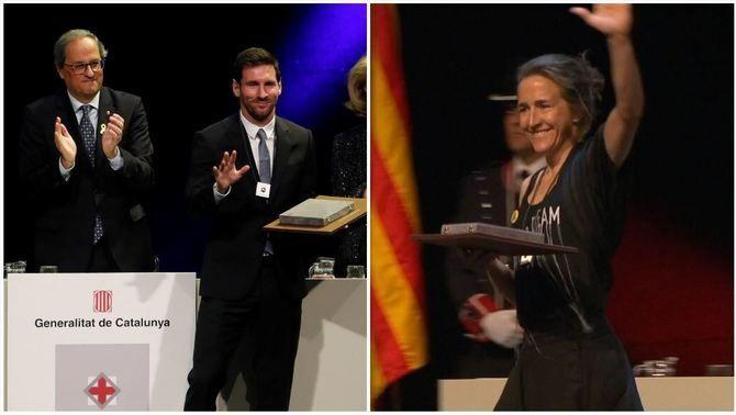 Leo Messi i Núria Picas reben la Creu de Sant Jordi de la Generalitat de Catalunya