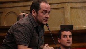 Els diputats de la CUP David Fernàndez i Quim Arrufat, al Parlament. (Foto: ACN)