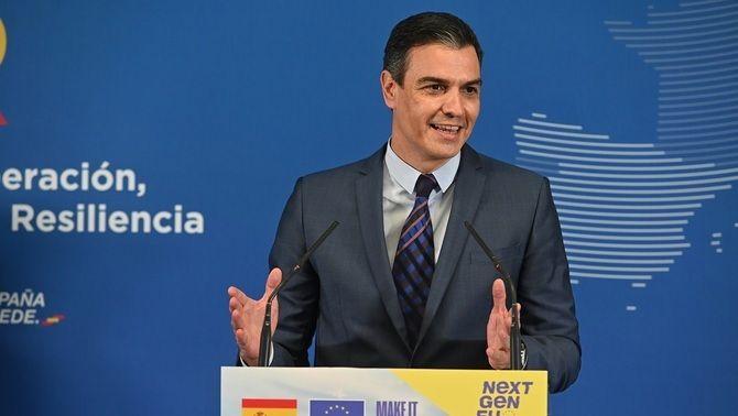 Pedro Sánchez, en roda de premsa després del suport de la Comissió Europea al pla de recuperació espanyol