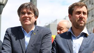 Puigdemont i Comín, davant la Comissió Europea, a Brussel·les, el 13 de juny passat (ACN / Natàlia Mas)