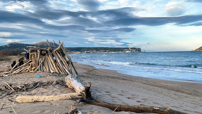 Cabana construïda amb troncs arrossegats pel Gloria, a la Gola del Ter