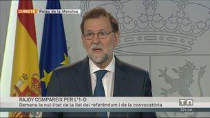Mariano Rajoy demana la nul·litat de la llei del referèndum i de la convocatòria