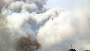 Un hidroavió sobrevola un gran núvol de fum d'un incendi forestal a la Ribera d'Ebre el 26 de juny del 2019. Pla general. (Horitzontal)