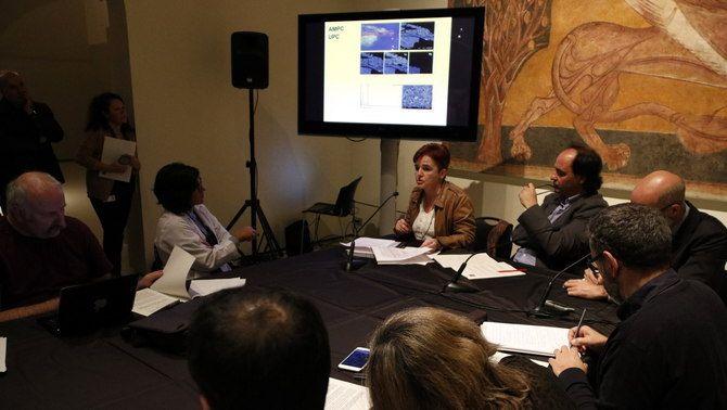 El director del MNAC, Pepe Serra, presenta els informes científics sobre el trasllat de les pintures. 14 de novembre de 2016