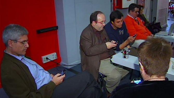 Un moment de l'acte del PSC amb els seus ciberactivistes