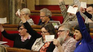 La papereta amb una pregunta binària per al referèndum a mans dels diputats de la CUP