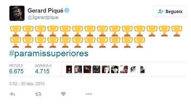 """Gerard Piqué dedica la victòria al Mundial de Clubs als seus """"superiors"""" en un tuit"""