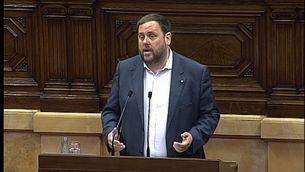 Oriol Junqueras, defensant el projecte de pressupostos aquest dimecres al Parlament
