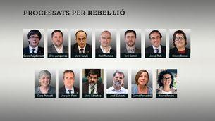 Els 13 processats per rebel·lió