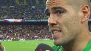Víctor Valdés, satisfet amb el títol