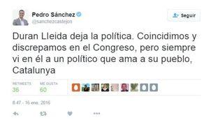 El tuit de Pedro Sánchez
