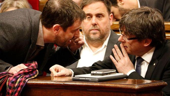 Comín, Junqueras i Puigdemont, fa dos anys al Parlament (ACN)