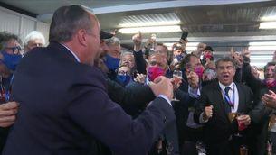 Així va celebrar Laporta la proclamació de president