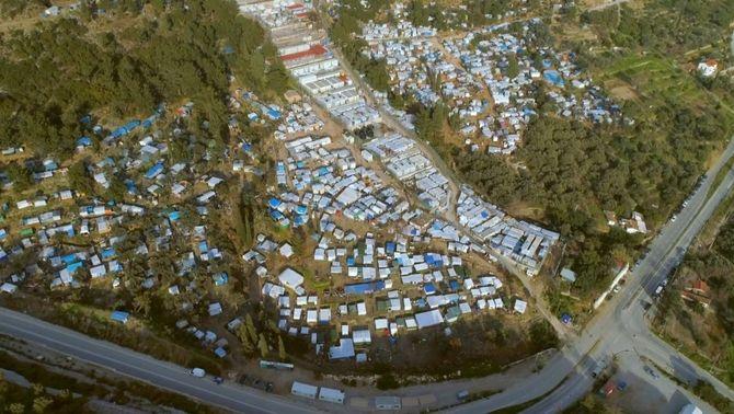 Vista aèria del camp d refugiats de Samos