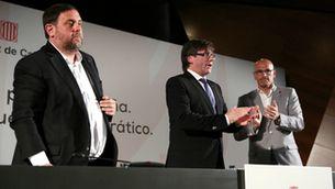 Junqueras, Puigdemont i Romeva a Madrid el 2017