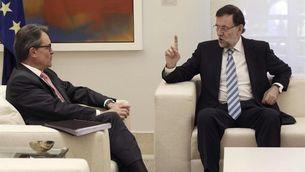 Rajoy i Mas, al despatx del president espanyol en l'inici d'una trobada en què no s'esperen massa acords. (Foto: EFE)