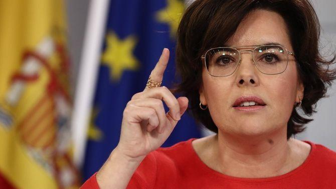 Soraya Sáenz de Santamaría, aquest divendres després del Consell de Ministres (EFE)