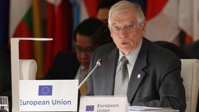 L'alt representant de la UE per a Política Exterior, Josep Borrell, aquest dilluns a Madrid (EFE / Javier Lizón)