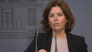 La vicepresidenta espanyola ha comparegut avui per sorpresa