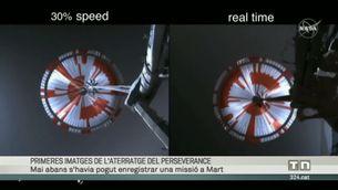 Les imatges de la nau Perseverance en el moment de l'arribada a Mart