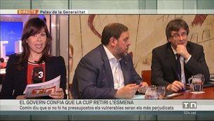 El govern espera que la CUP reconsideri l'esmena a la totalitat als pressupostos