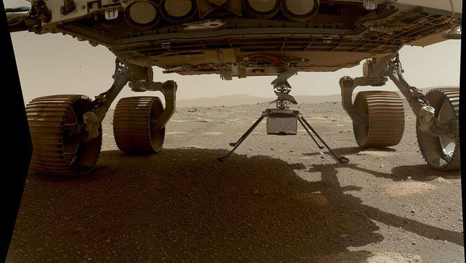 L'Ingenuity a sota del rover Perserverance, preparant-se pel seu enlairament