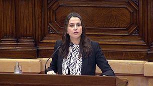 Inés Arrimadas, aquest dilluns, durant el ple del Parlament sobre la resolució independentista