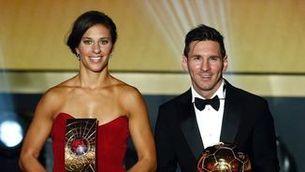 Carli Lloyd i Lieonel Messi a la gala de la FIFA el 2016