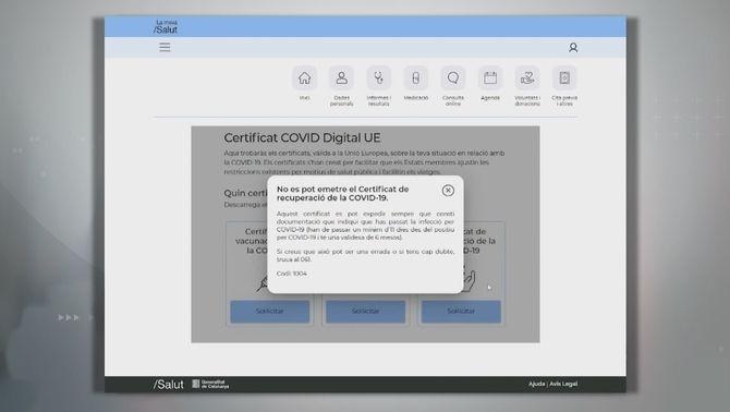 El web LamevaSalut no permet que emetre el certificat de recuperació de la Covid-19 perquè no disposa d'una PCR